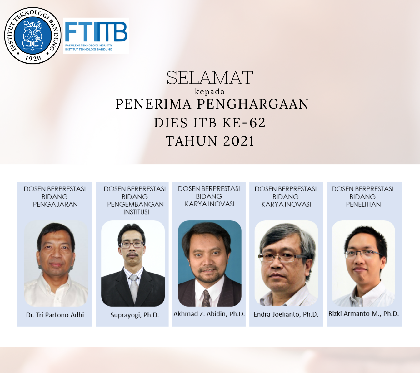 Penganugerahan Penghargaan Institut Teknologi Bandung dalam rangka Dies ITB ke-62 Tahun 2021